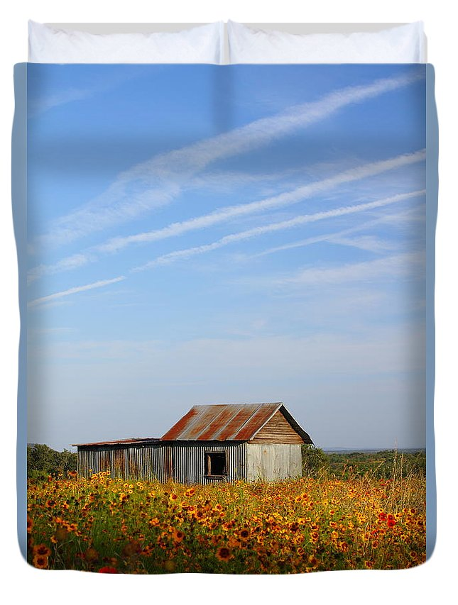 Pontotoc Duvet Cover featuring the photograph Pontotoc Shed 2am-110573 by Andrew McInnes