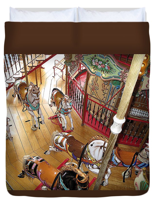 Carousel Duvet Cover featuring the photograph Pony Race by Barbara McDevitt