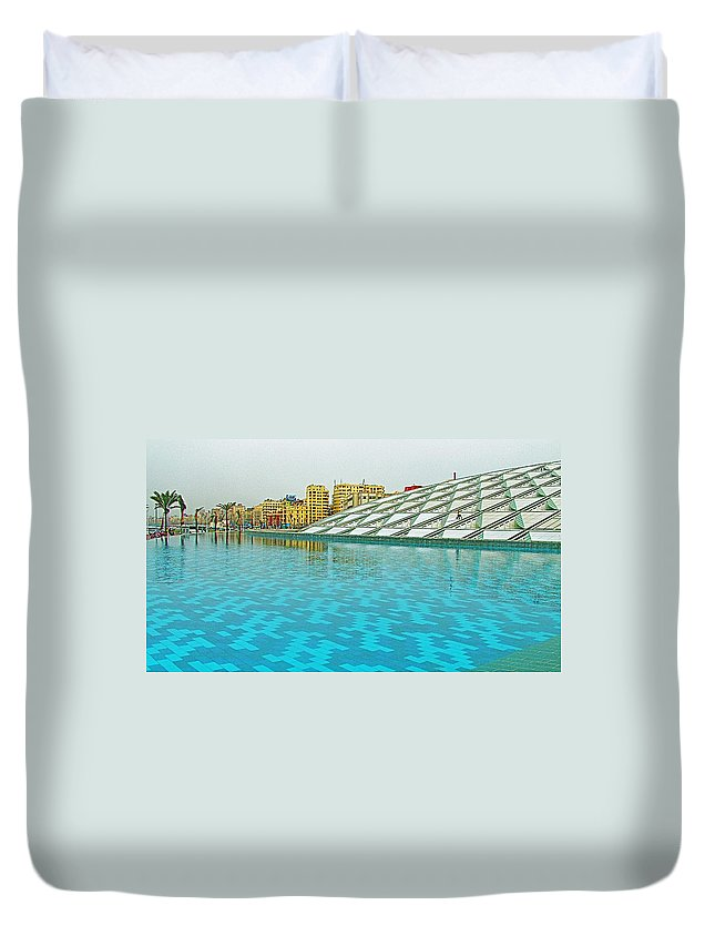 Pool And Roof Of Alexandria Library Duvet Cover featuring the photograph Pool And Roof Of Alexandria Library-egypt by Ruth Hager