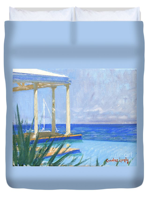 Infinity Pool Duvet Cover featuring the painting Pool Cabana Morning by Candace Lovely