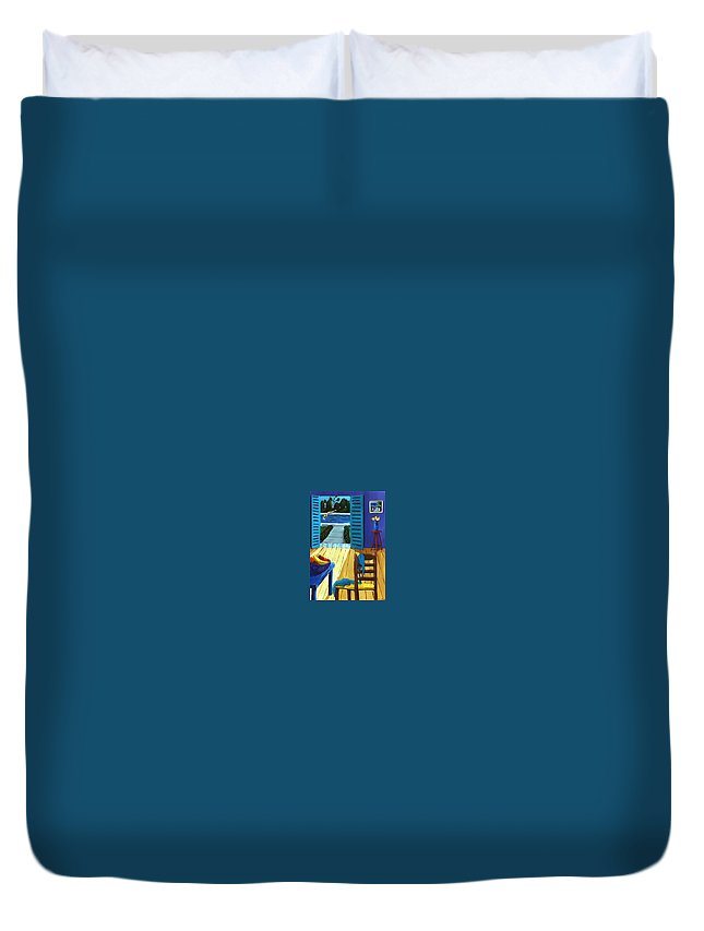 Pool Side Duvet Cover featuring the painting Pool Side Suite by Lance Headlee