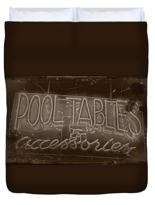 Arts Duvet Cover featuring the photograph Pool Tables And Accessories - Vintage Neon Sign by Steven Milner