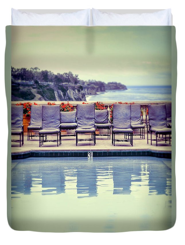 Pool Duvet Cover featuring the photograph Pool With Views Of The Ocean by Jill Battaglia