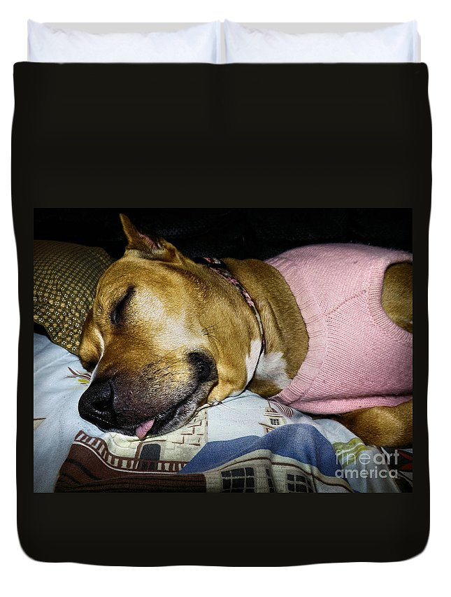 Duvet Cover featuring the photograph Pooped Pup by Robyn King