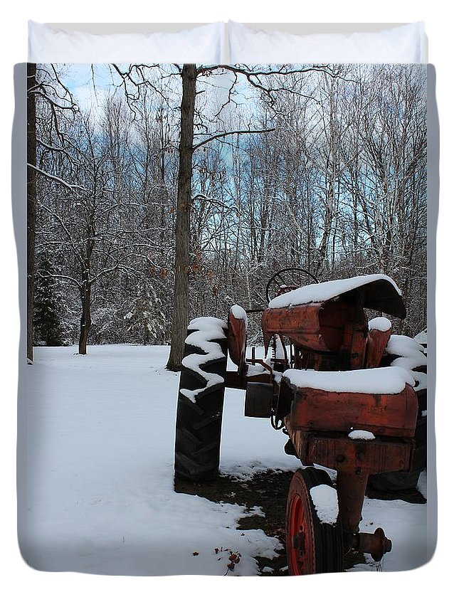 Tractor Duvet Cover featuring the photograph Poor Allis Chalmers by Stephanie Kripa