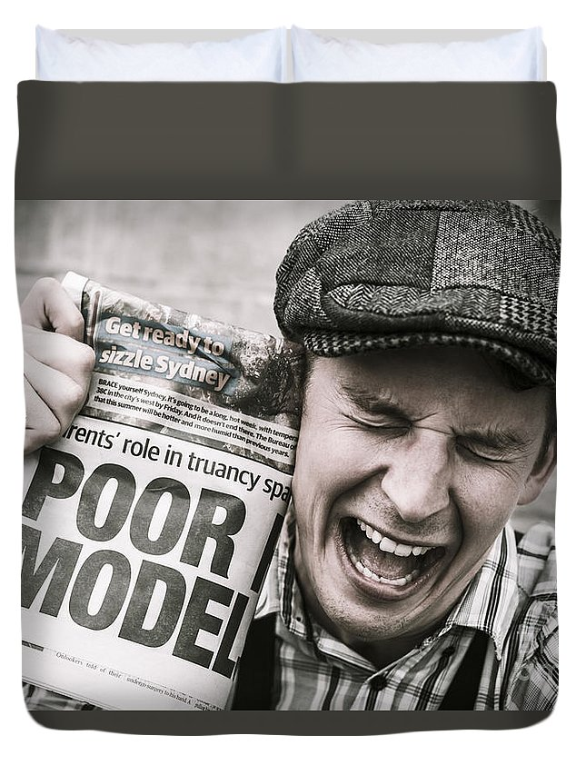Model Duvet Cover featuring the photograph Poor Model by Jorgo Photography - Wall Art Gallery