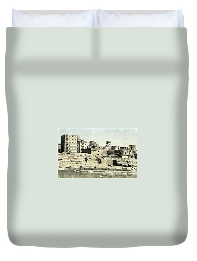 Township Duvet Cover featuring the photograph Poor Suburb Of The City Oil Painting On Burlap by Nenad Cerovic