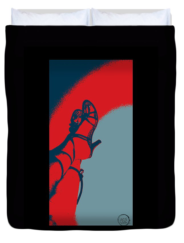 Shoes Duvet Cover featuring the digital art Pop Art Shoes In Red by Absinthe Art By Michelle LeAnn Scott