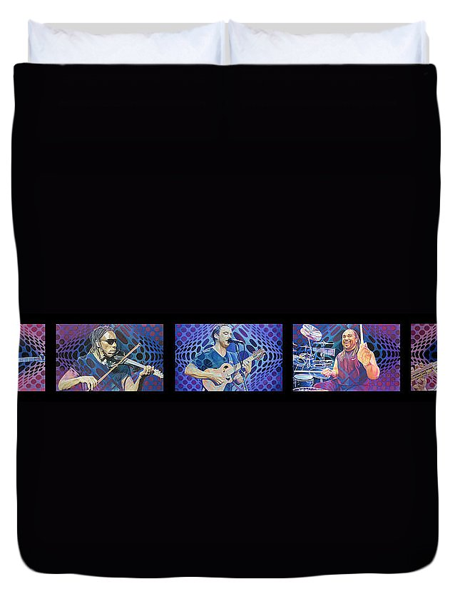 Dave Matthews Duvet Cover featuring the drawing The Dave Matthews Band Op Art Style by Joshua Morton