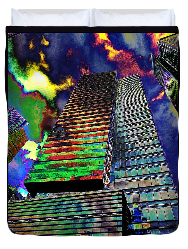 City Duvet Cover featuring the photograph Popart In The Sky by Art Dingo