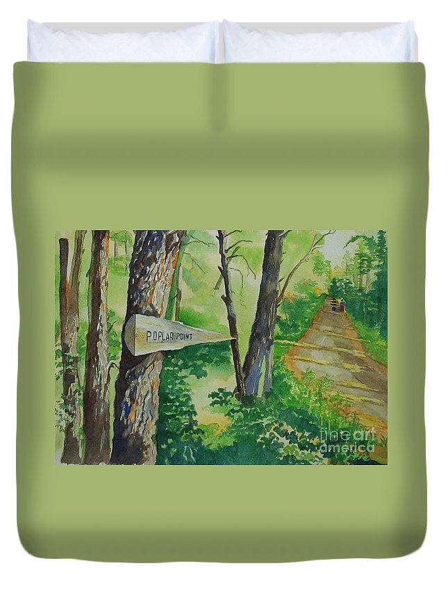 Poplar Point Camp Duvet Cover featuring the painting Poplar Point Camp by Lise PICHE