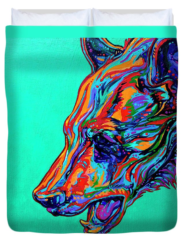 Contemporary Paintings Duvet Cover featuring the painting Poppa Bear by Derrick Higgins