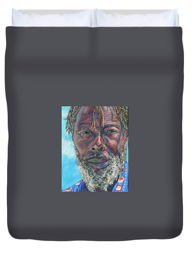 Man Duvet Cover featuring the painting Poppi by Li Newton