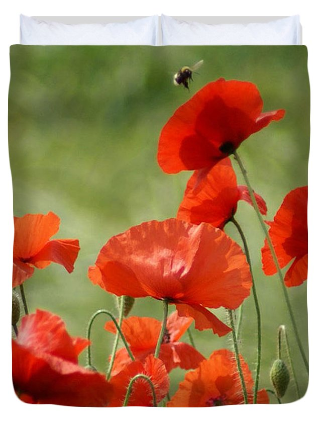 Poppies Duvet Cover featuring the photograph Poppies 1 by Carol Lynch