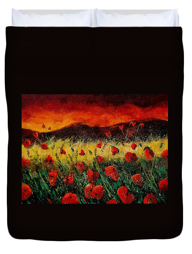 Poppies Duvet Cover featuring the painting Poppies 68 by Pol Ledent