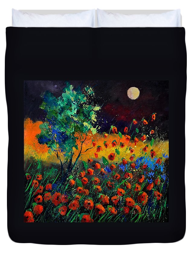 Landscape Duvet Cover featuring the painting Poppies 774111 by Pol Ledent