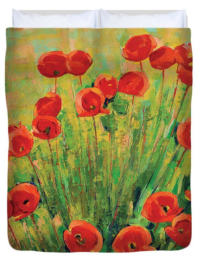Poppies Duvet Cover featuring the painting Poppies by Iliyan Bozhanov