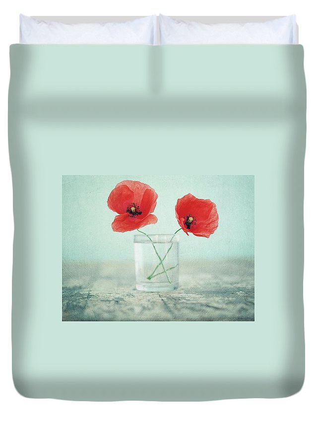 Bulgaria Duvet Cover featuring the photograph Poppies In A Glass, Still Life by By Julie Mcinnes