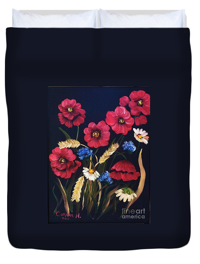 Floral Duvet Cover featuring the painting Poppies In Oils by Corina Hogan