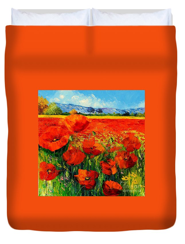 Poppies Duvet Cover featuring the digital art Poppies by Jean-Marc Janiaczyk