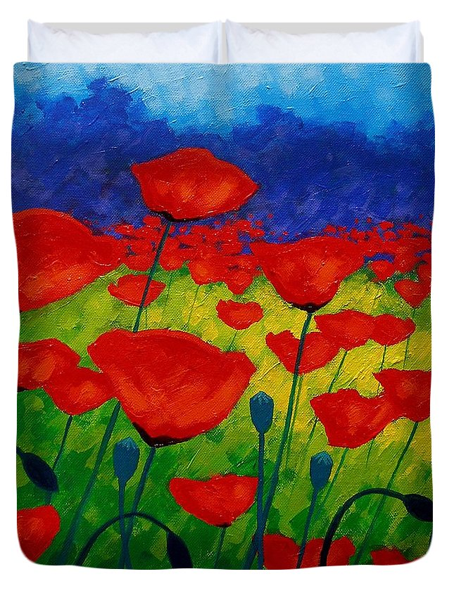 Poppies Duvet Cover featuring the painting Poppy Corner II by John Nolan
