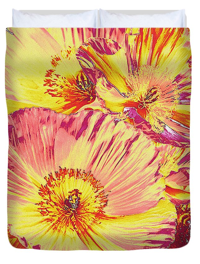 Poppy Duvet Cover featuring the digital art Poppy Extravaganza by Jane Schnetlage