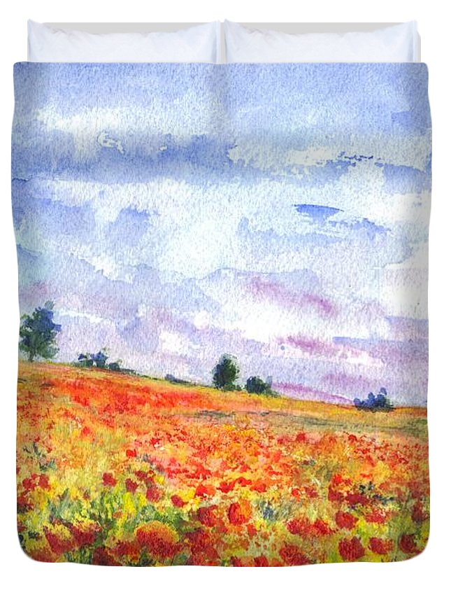 Poppy Duvet Cover featuring the painting Poppy Field by Carol Wisniewski