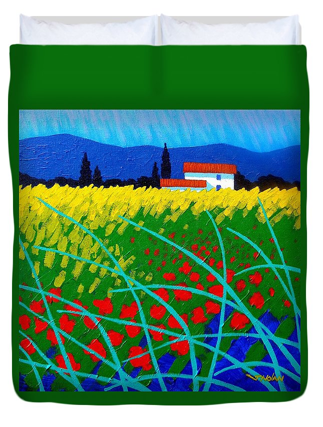 Ireland Duvet Cover featuring the painting Poppy Field France by John Nolan