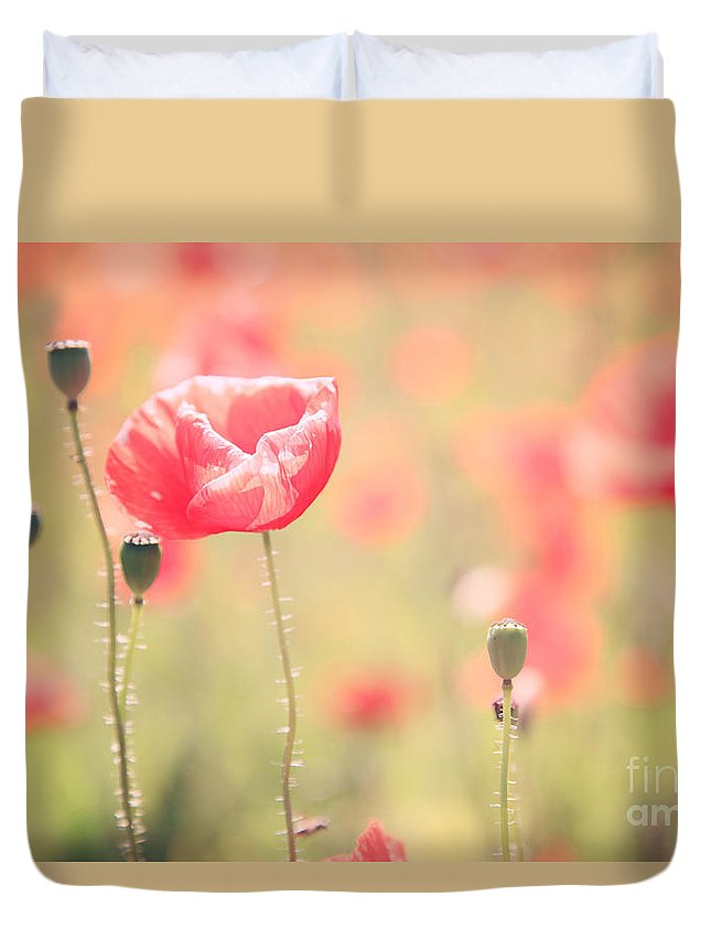 Vintage Duvet Cover featuring the photograph Poppy Field In Tuscany - Italy by Matteo Colombo