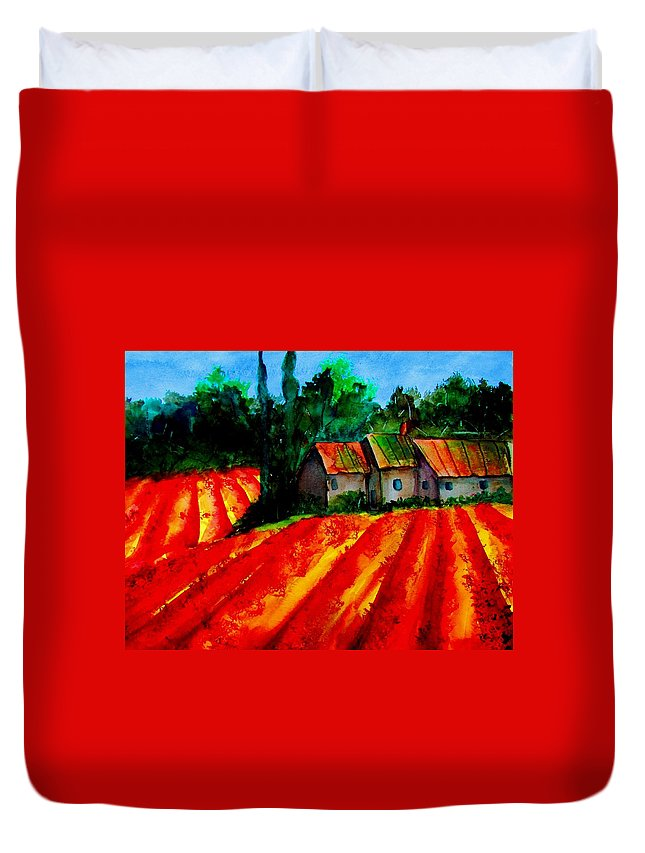Poppies Duvet Cover featuring the painting Poppy Field Sold by Lil Taylor