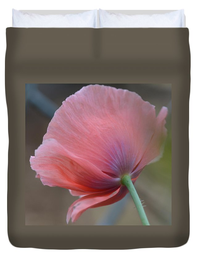 Pink Poppy Duvet Cover featuring the photograph Poppy by Helga Skinner