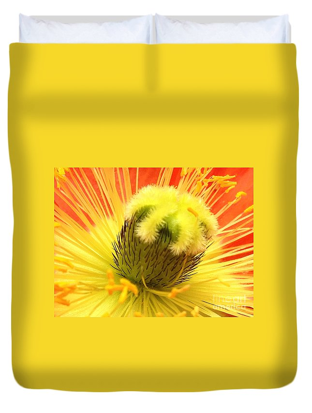Yellow Duvet Cover featuring the photograph Poppy by Jacklyn Duryea Fraizer