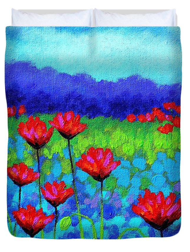 Acrylic Duvet Cover featuring the painting Poppy Study by John Nolan