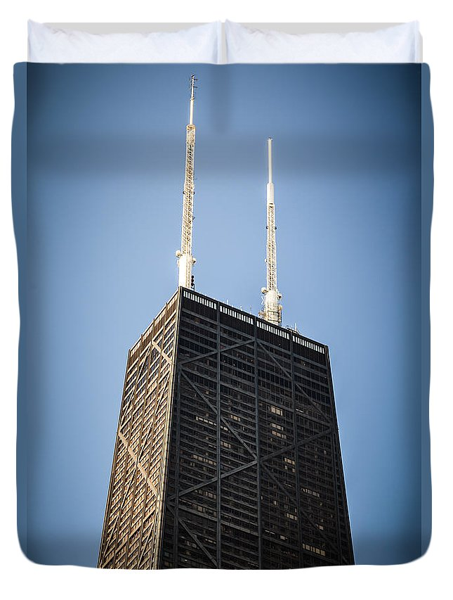America Duvet Cover featuring the photograph Popular Chicago Hancock Building Skyscraper by Paul Velgos