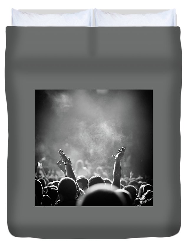 Rock Music Duvet Cover featuring the photograph Popular Music Concert by Alenpopov