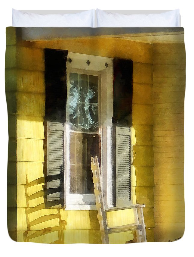Shadow Duvet Cover featuring the photograph Porch - Long Afternoon Shadow Of Rocking Chair by Susan Savad