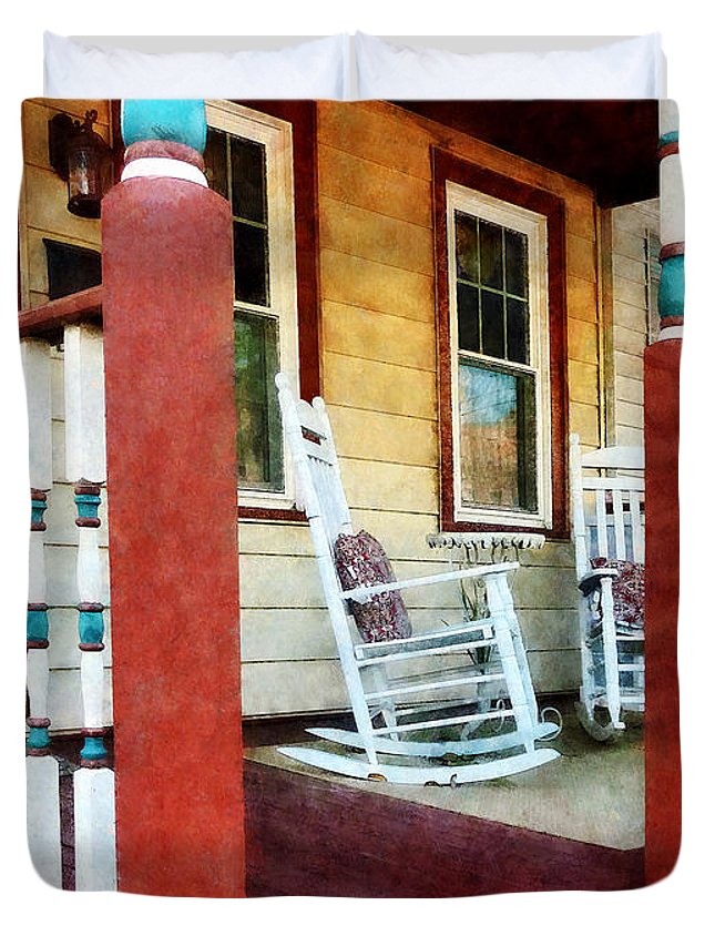 Porch Duvet Cover featuring the photograph Porch With Red White And Blue Railing by Susan Savad