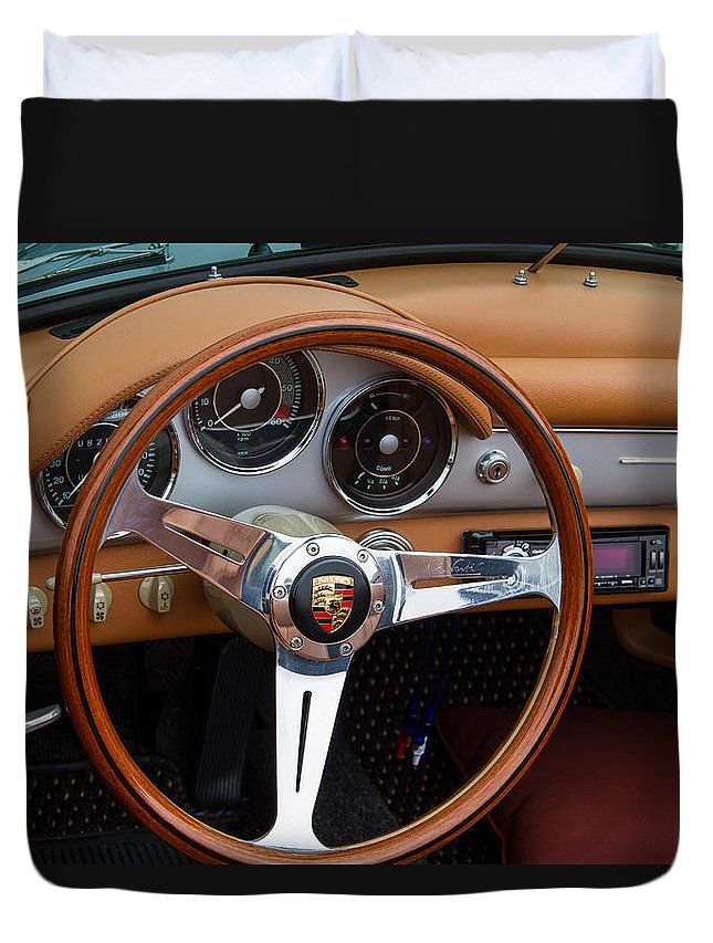 Porsche 356b Duvet Cover featuring the photograph Porsche 356b Super 90 Interior by Roger Mullenhour