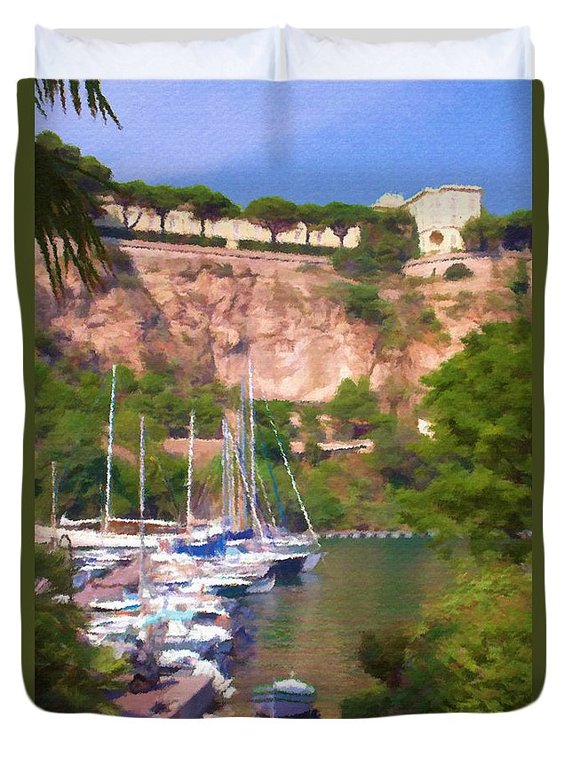 Blue Duvet Cover featuring the painting Port And Palace by Jeffrey Kolker