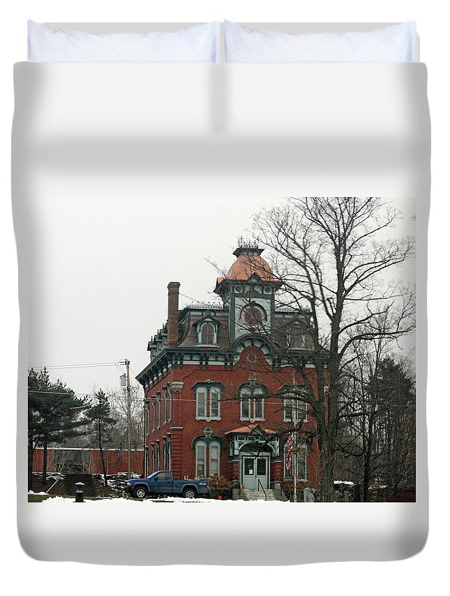 Town Hall Duvet Cover featuring the photograph Port Henry Town Hall by James Connor