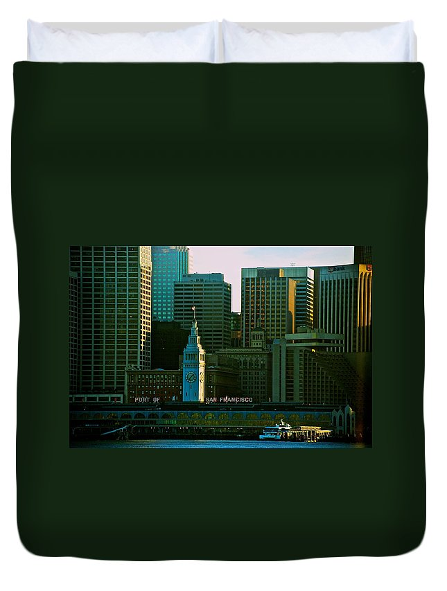 San Francisco Duvet Cover featuring the photograph Port Of San Francisco by Eric Tressler