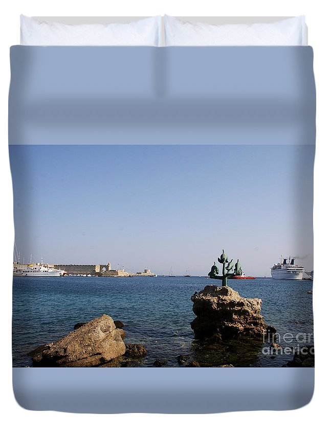 Dolphin Duvet Cover featuring the photograph Port Of The Myloi And Dolphins - Rhodos Citys by Christiane Schulze Art And Photography