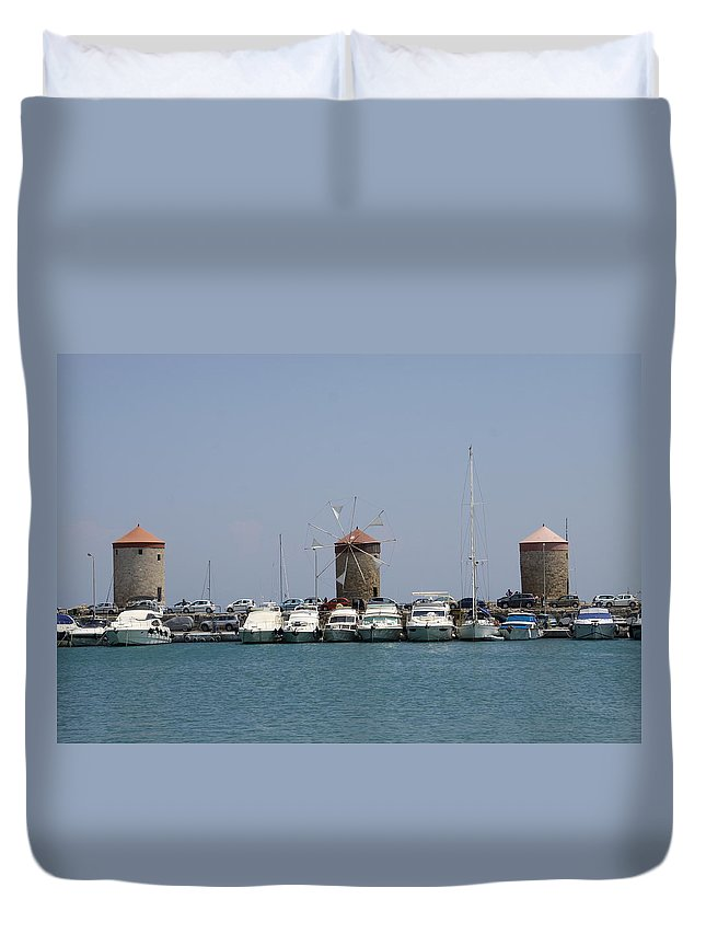 Windmills Duvet Cover featuring the photograph Port Of The Myloi - Rhodos City by Christiane Schulze Art And Photography