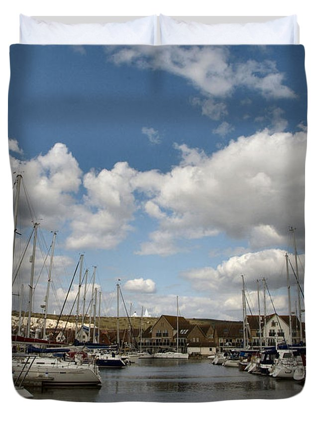 Port Solent Duvet Cover featuring the photograph Port Solent Marina by Tracey Beer