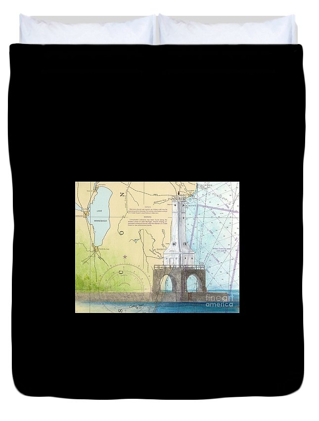 Port Duvet Cover featuring the painting Port Washington Lighthouse Wi Nautical Chart Map Art by Cathy Peek
