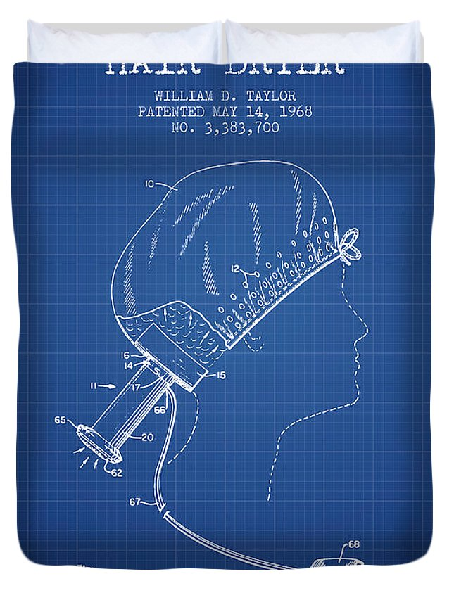 Hair Dryer Duvet Cover featuring the digital art Portable Hair Dryer Patent From 1968 - Blueprint by Aged Pixel