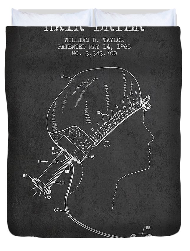 Hair Dryer Duvet Cover featuring the digital art Portable Hair Dryer Patent From 1968 - Charcoal by Aged Pixel