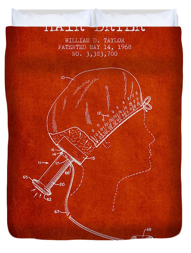 Hair Dryer Duvet Cover featuring the digital art Portable Hair Dryer Patent From 1968 - Red by Aged Pixel