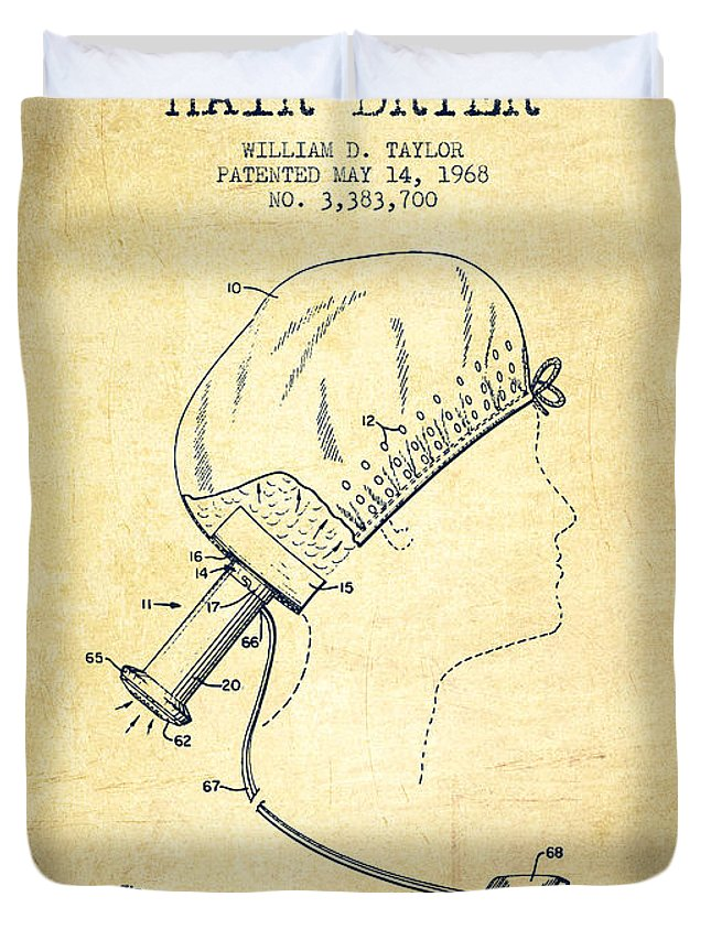 Hair Dryer Duvet Cover featuring the digital art Portable Hair Dryer Patent From 1968 - Vintage by Aged Pixel