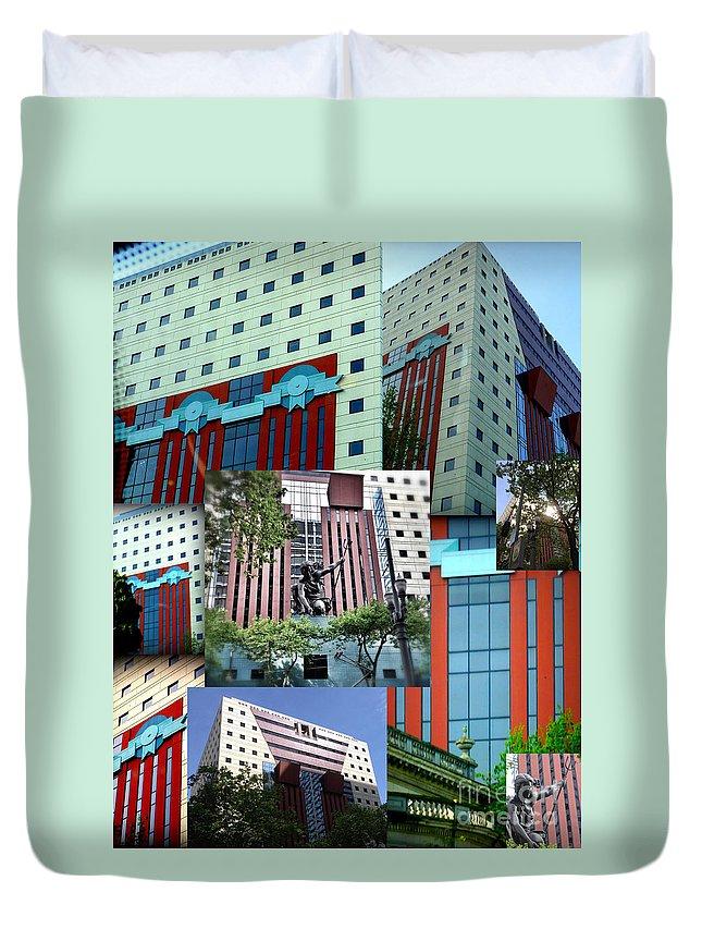 Architecture Duvet Cover featuring the photograph Portland Building Collage by Susan Garren